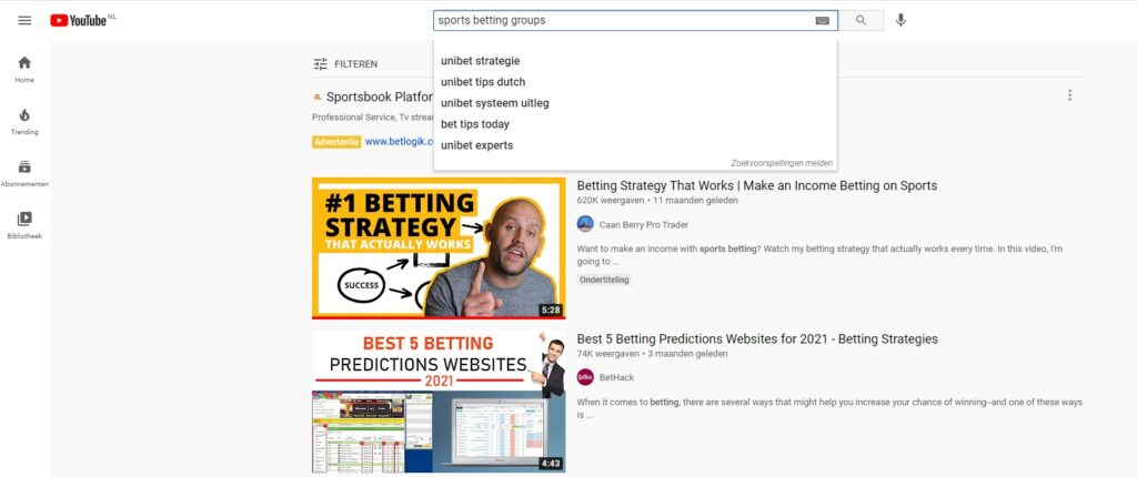 Youtube search for betting groups screen