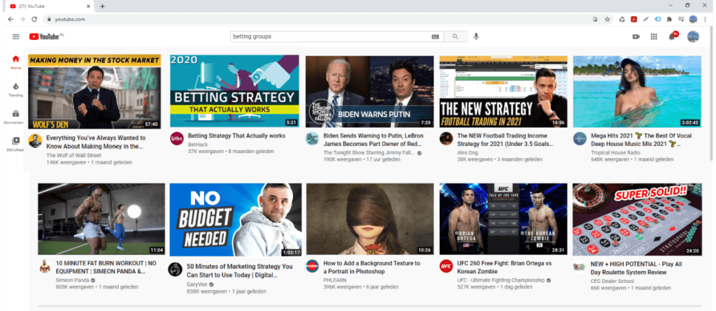 Youtube-selection-screen-home-page