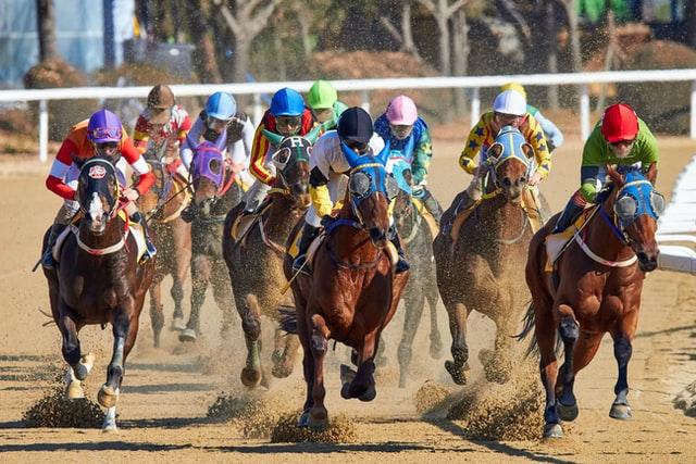 horses racing on dirt underground