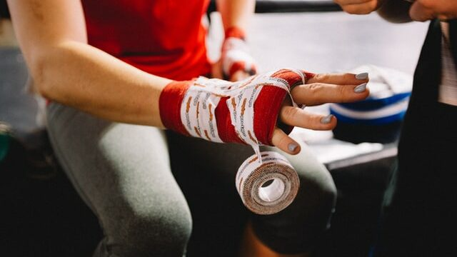 mma fighter wrapping hands